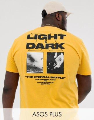 ASOS DESIGN Plus - Lässiges T-Shirt mit großem Print am Rücken-Orange