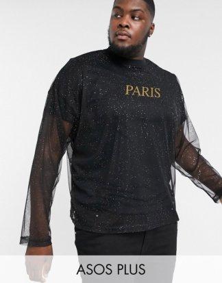 ASOS DESIGN Plus - Langärmliges Oversize-Shirt mit goldenem Folien-City-Print-Schwarz