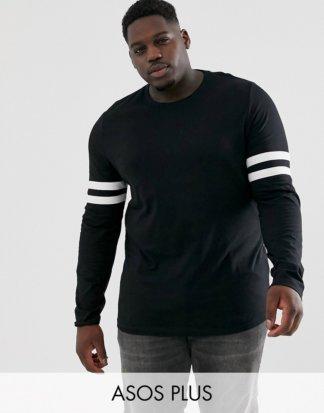 ASOS DESIGN - Plus - Langärmliges Shirt aus schwarzer Bio-Baumwolle mit Stretchanteil und Kontraststreifen an den Ärmeln