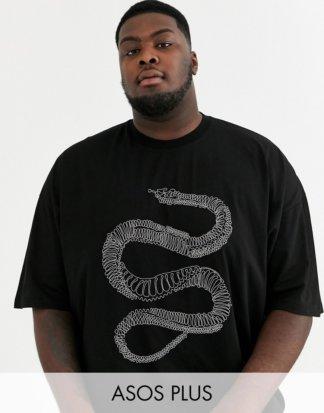 ASOS DESIGN - Plus - Lang geschnittenes Oversize-T-Shirt mit Metallic-Schlangenmuster mit Perlenverzierung-Schwarz