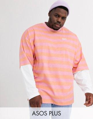 ASOS DESIGN Plus - Lang geschnittenes, langärmliges Oversize-Shirt mit zweilagigen Ärmeln, bestickt und gestreift-Mehrfarbig