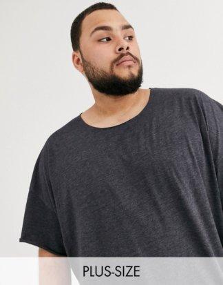 ASOS DESIGN Plus - Oversize-T-Shirt mit ungesäumtem Ausschnitt in Anthrazit meliert-Grau