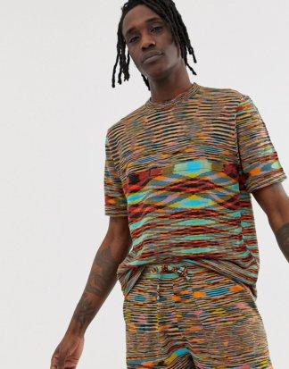 ASOS DESIGN - Strick-T-Shirt mit mehrfarbigem Space-Dye-Muster, Kombiteil