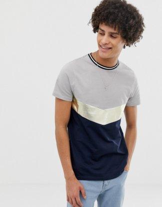 ASOS DESIGN - T-Shirt mit Metallic-Sparrendetail und Flickendesign-Navy
