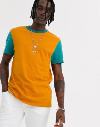 ASOS DESIGN - T-Shirt mit kontrastfarbenen Ärmeln aus schwerem, verwaschenem Jersey-Orange