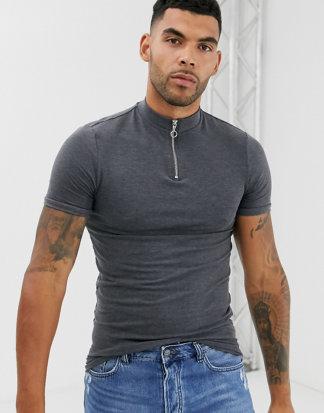 ASOS DESIGN Tall - Graues Muskel-T-Shirt aus Bio-Baumwolle mit Rollkragen und Reißverschluss