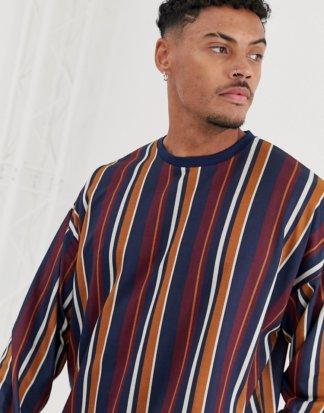 ASOS DESIGN - Vertikal gestreiftes, langärmliges Oversize-Shirt-Mehrfarbig