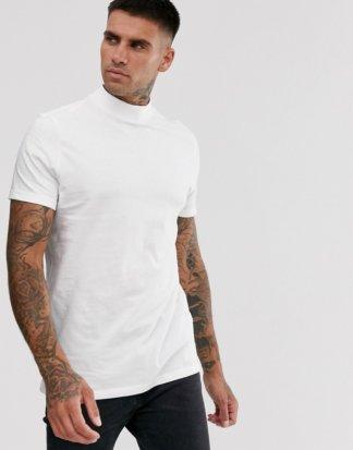 ASOS DESIGN - Weißes T-Shirt aus Bio-Jersey mit Stehkragen