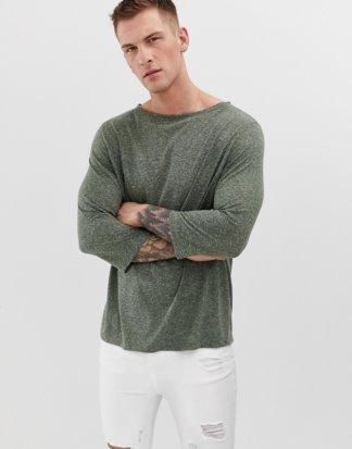 ASOS DESIGN - Weites T-Shirt mit 3/4-Ärmeln und U-Boot-Ausschnitt aus Leinenmischung-Grün