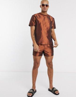 ASOS Design - Legeres T-Shirt in Bronze-Metallic, Kombiteil-Braun