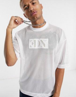 ASOS EDITION - Oversize-T-Shirt aus Netzstoff mit Metallic-Logostickerei-Weiß