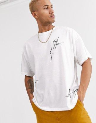 ASOS - Oversize-T-Shirt mit durchgehendem Dark-Future-Logo-Weiß