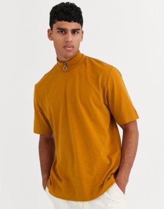 ASOS WHITE - Locker geschnittenes T-Shirt mit Reißverschluss am Ausschnitt-Braun