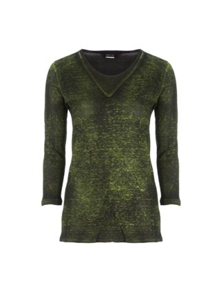 AVANT TOI Damen Leinen Shirt 3/4 Arm grün schwarz