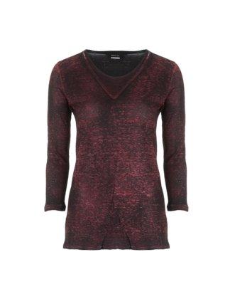 AVANT TOI Damen Leinen Shirt 3/4 Arm rot schwarz