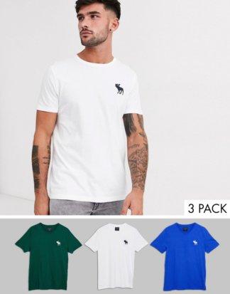 Abercrombie & Fitch - 3er-Set T-Shirts mit großem Logo in Grün/Weiß/Blau-Mehrfarbig
