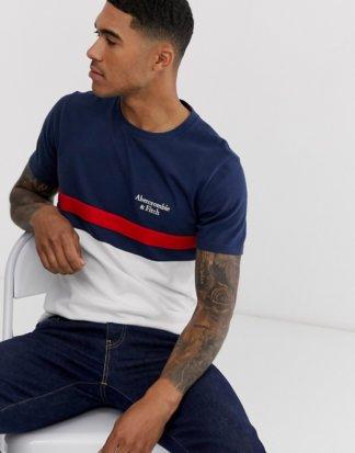 Abercrombie & Fitch - Americana - T-Shirt mit Farbblockdesign, Bruststreifen und Logo in Navy
