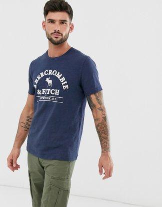 Abercrombie & Fitch - Funktions-T-Shirt mit erhabenem Logo in Marine-Navy