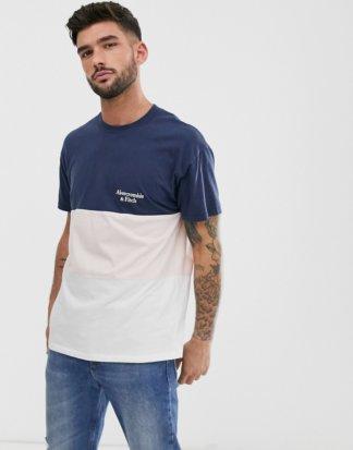 Abercrombie & Fitch - T-Shirt in Marine/Rosa/Weiß mit Farbblockdesign und kleinem Logo-Mehrfarbig