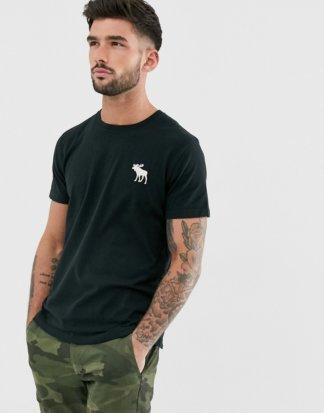 Abercrombie & Fitch - T-Shirt mit Rundhalsausschnitt und explodierendem Logo in Schwarz