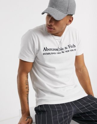 Abercrombie & Fitch - T-Shirt mit Rundhalsausschnitt und gesticktem Logo in Weiß