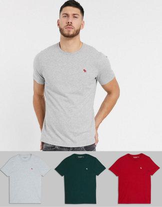 Abercrombie & Fitch - T-Shirts mit Rundhalsausschnitt und Logo im 3er-Pack in Grün/Grau/Rot-Mehrfarbig