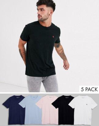 Abercrombie & Fitch - T-Shirts mit Rundhalsausschnitt und Logo in Weiß/Marine/Rosa/Schwarz/Hellblau, 5er-Pack-Mehrfarbig