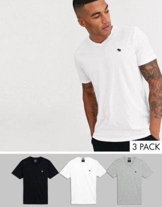Abercrombie & Fitch - T-Shirts mit V-Ausschnitt und Logo in Weiß/Grau/Schwarz im 3er-Set-Mehrfarbig