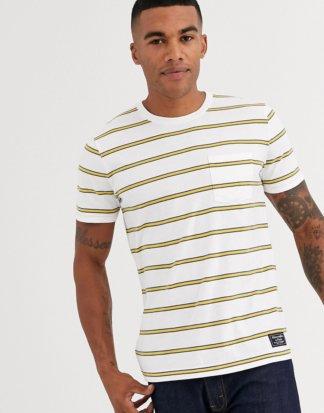 Abercrombie & Fitch - Weißes T-Shirt mit Logostreifen
