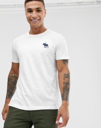 """Abercrombie & Fitch - Weißes T-Shirt mit Rundhalsausschnitt und """"explodiertem"""" Logo"""