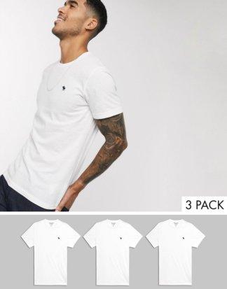 Abercrombie and Fitch - T-Shirt mit Rundhalsausschnitt im Multipack in Weiß