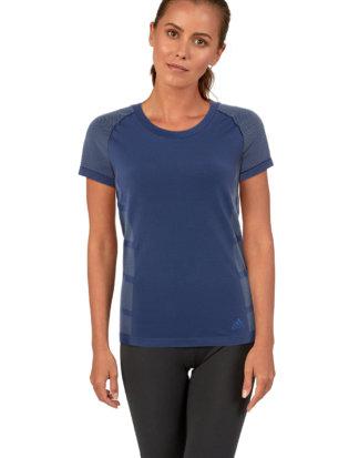 Adidas T-Shirt, Rundhals, gerader Schnitt blau