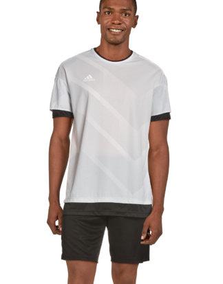 Adidas T-Shirt Tango, Rundhals, gerader Schnitt grau