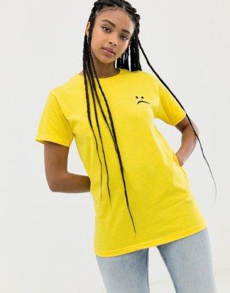 Adolescent Clothing - T-Shirt mit traurigem Gesicht-Gelb