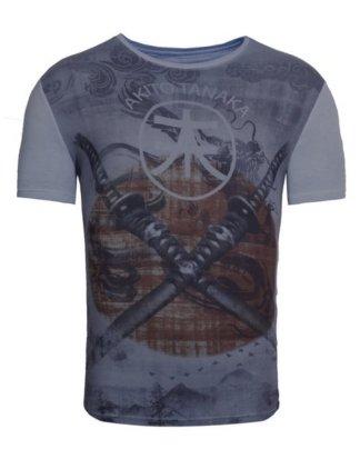 "Akito Tanaka Print-Shirt ""Double Sword"" mit komplett bedrucktem Vorderteil"