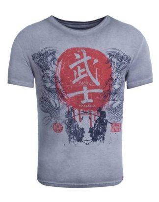 "Akito Tanaka Print-Shirt ""Dragons Fight"" mit Samurai Druckmotiv"