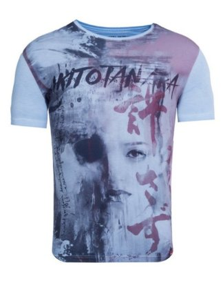 "Akito Tanaka Print-Shirt ""Geisha Flow"" mit Druck und Used-Waschung"