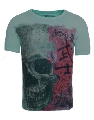 "Akito Tanaka Print-Shirt ""Japan Skull"" mit großem Skull Druck"