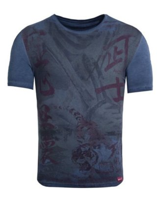 "Akito Tanaka Print-Shirt ""Samurai Fighter"" mit Tiger Motiv"