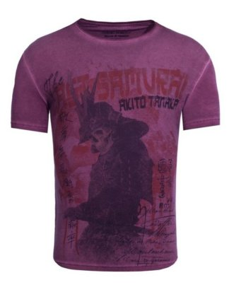 "Akito Tanaka Print-Shirt ""Samurai Skull"" mit Totenkopf Motiv"