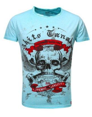 "Akito Tanaka Print-Shirt ""Skull Fly"" im Used Look mit Print"