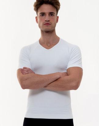 Anaissa T-Shirt mit Shaping-Effekt, V-Ausschnitt weiß