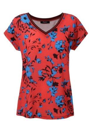 Aniston CASUAL T-Shirt mit Blüten und Steifen - NEUE KOLLEKTION