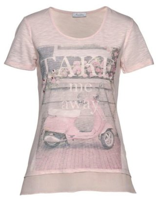 Aniston CASUAL T-Shirt mit Glitzersteinchen und Frontdruck