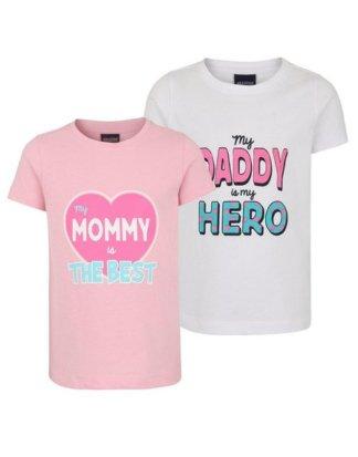"""Arizona T-Shirt (Packung, 2-tlg) mit """"Mommy und Daddy"""" Druck"""