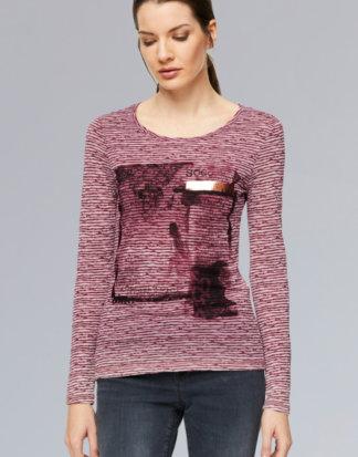 Ausbrenner-Shirt mit Photoprint und Tape Farbe : burgundy , Größe: L