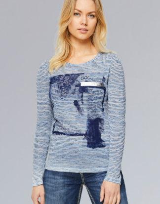 Ausbrenner-Shirt mit Photoprint und Tape Farbe : dusky blue , Größe: L