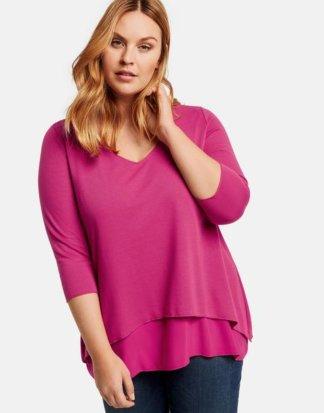 Ausgestelltes Double-Layer-Shirt Pink 40/42