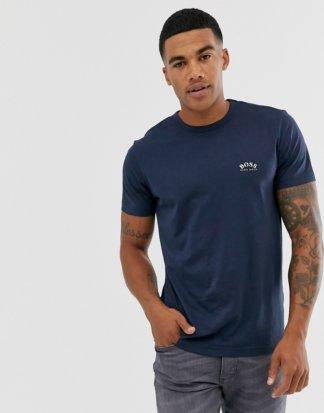 BOSS - Athleisure - T-Shirt in Marine mit silbernem Logo auf der Brust-Navy