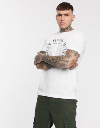 BOSS - Athleisure Tee1 - Weißes T-Shirt mit Logo auf der Brust